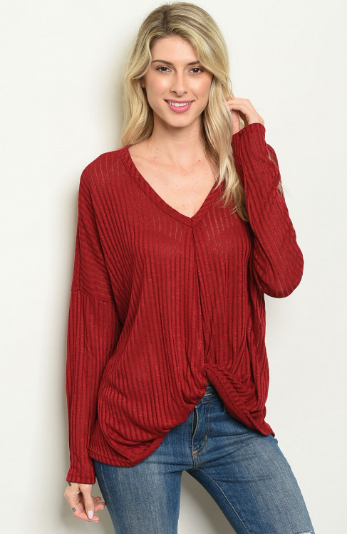 Gathered Front Long Sleeve Blouse