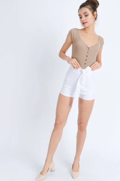 High-Waist Bow Shorts