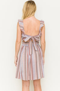 Kinsey - Pink and Purple Striped Ruffle Sleeve Dress
