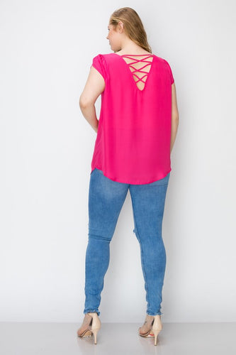 Courtney - Plus Size Spaghetti Back Top Pink