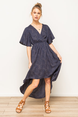 Kennedy - Navy Faux Wrap Hi-Lo with Flutter Sleeve
