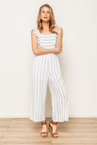 Reese - Ruffle Sleeve Green Striped Jumpsuit
