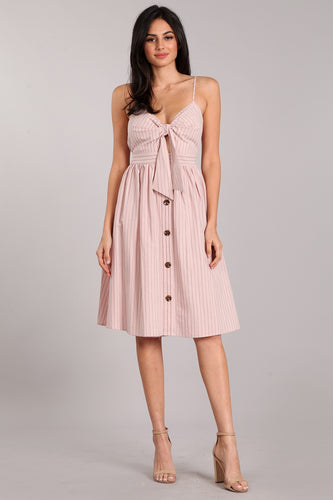 Stephanie - Pink Striped Fit and Flare Dress