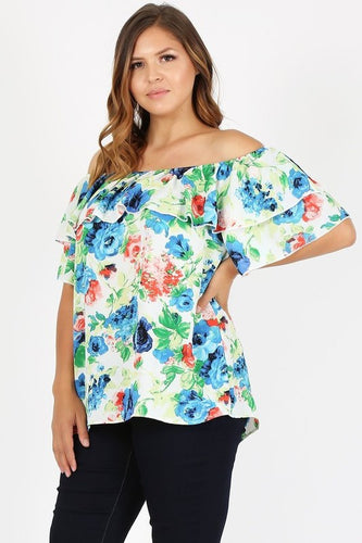 Dusty Blouse - Plus Size Off Shoulder Floral Top