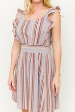 Load image into Gallery viewer, Kinsey - Pink and Purple Striped Ruffle Sleeve Dress