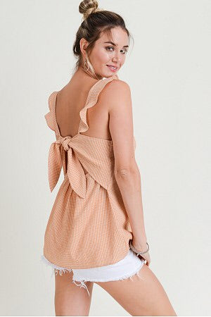 Christy - Burnt Orange Flutter Strap Cut Out Tie Top