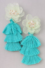 Load image into Gallery viewer, Tennyson - Turquoise Tassel Flower Earrings
