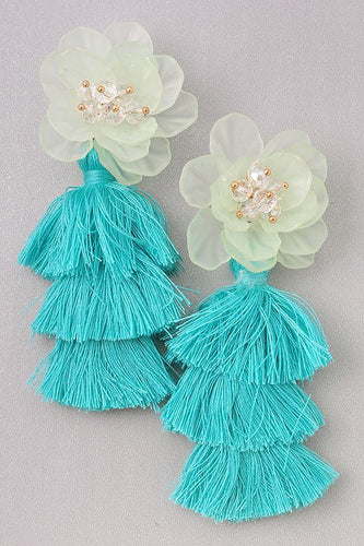 Tennyson - Turquoise Tassel Flower Earrings