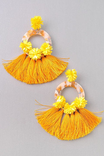 Tangley- Mustard Tassel Earrings