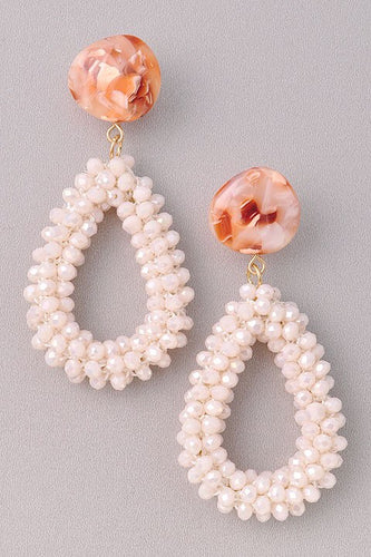 Peaches n' Cream Beaded Earring