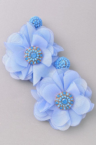 Pansy - Blue Flowers with Beaded Details