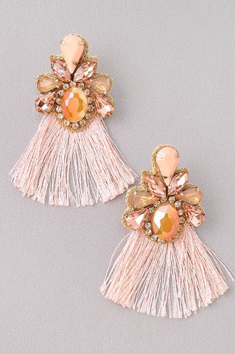 Fancy - Pink Jewel and Fringe Earrings