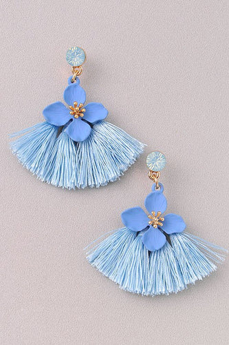 Bell - Blue Flower Earrings with Fringe