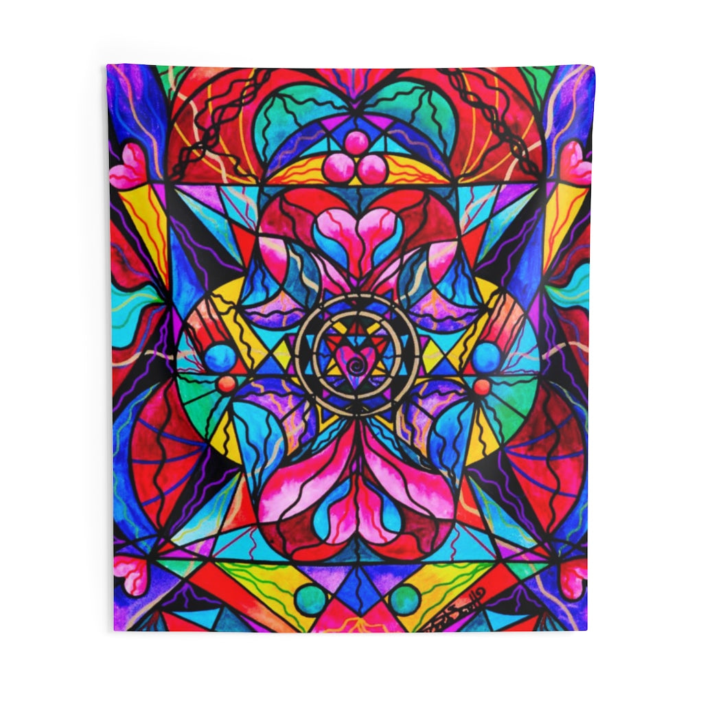 Blue Ray Self Love Grid - Indoor Wall Tapestries