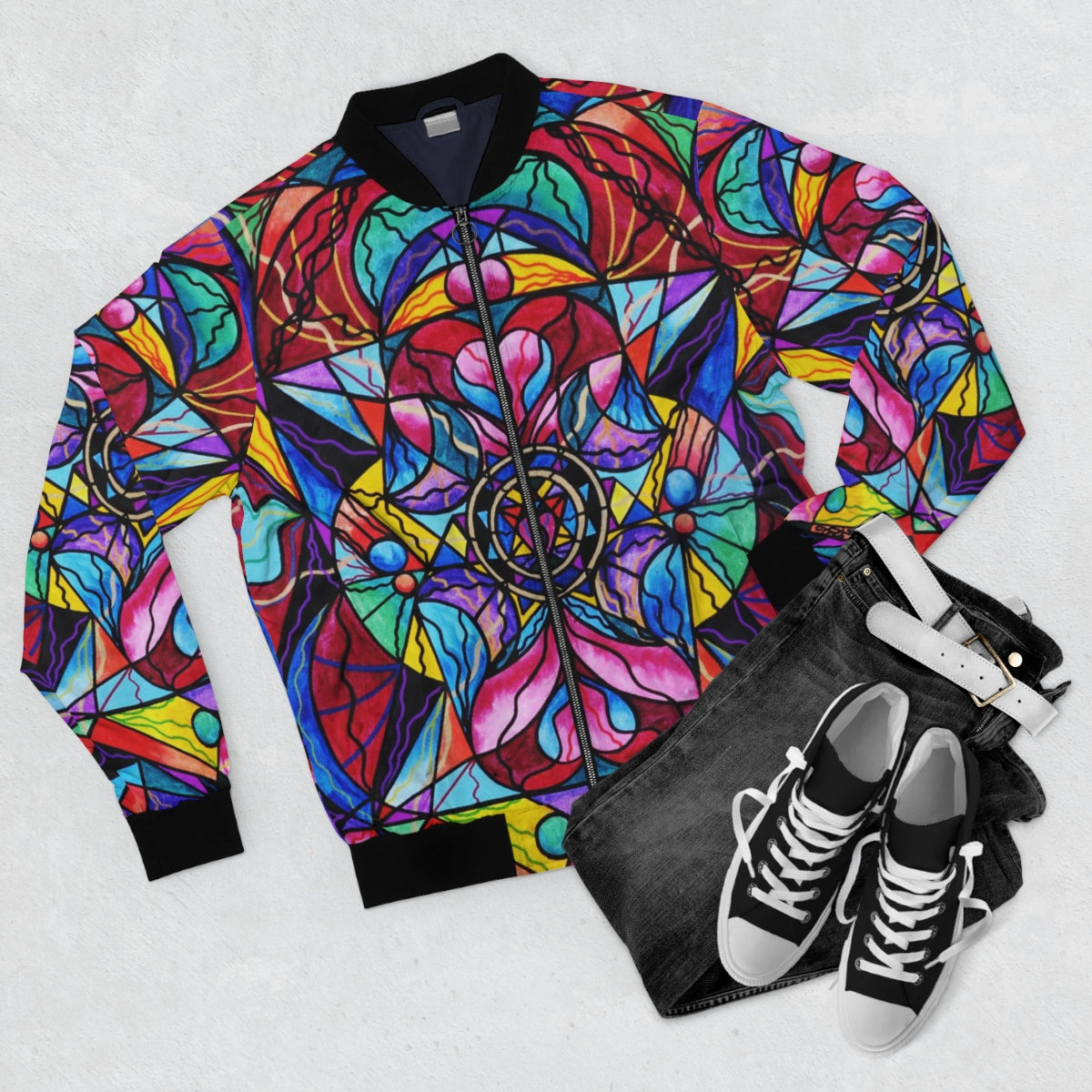 Blue Ray Self Love Grid-Bomber Jacket