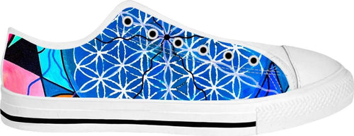 Flower of Life - White Low Tops