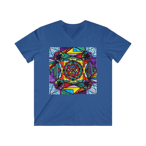 Sri Yantra - Men's Fitted V-Neck Short Sleeve Tee