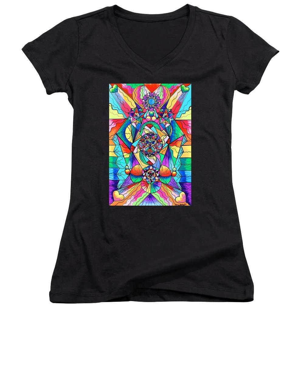 Blue Ray Transcendence Grid - Women's V-Neck