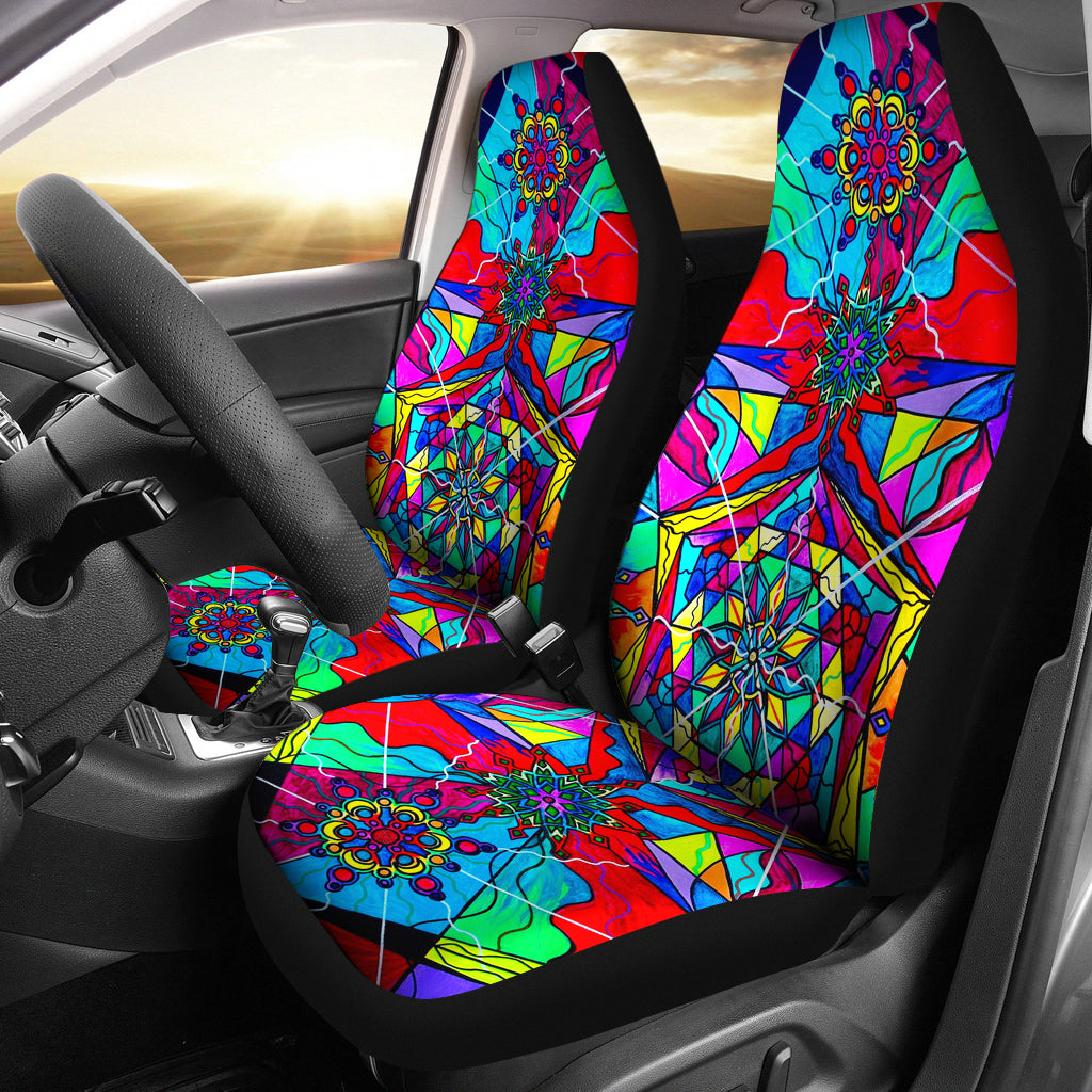 Blue Ray Self Love Grid - Car Seat Covers (Set of 2)