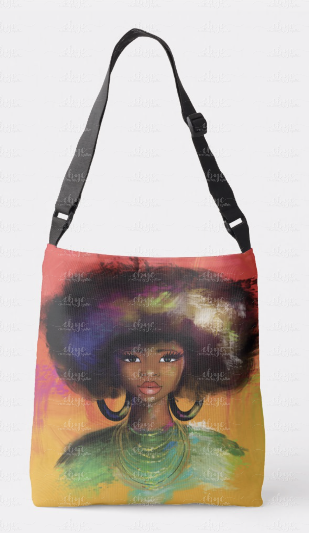 Watercolor Fro Crossbody
