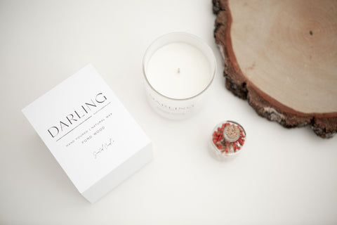 Darling Northumberland natural wax candle Ford Wood with white box