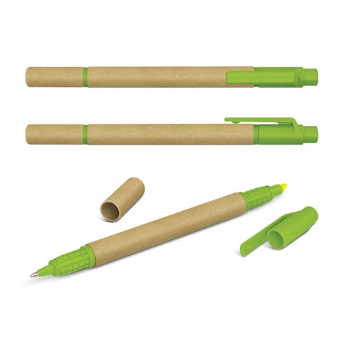 Image of Eco Cardboard Pen with Highlighter