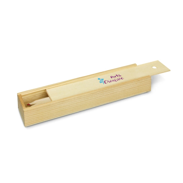 Colouring Set - Wooden Box with Sliding Lid