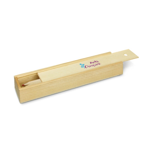 Image of Colouring Set - Wooden Box with Sliding Lid
