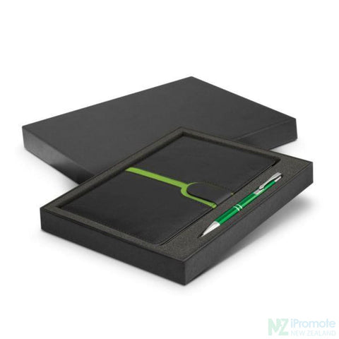 Andorra Notebook And Pen Gift Set Bright Green Notebooks