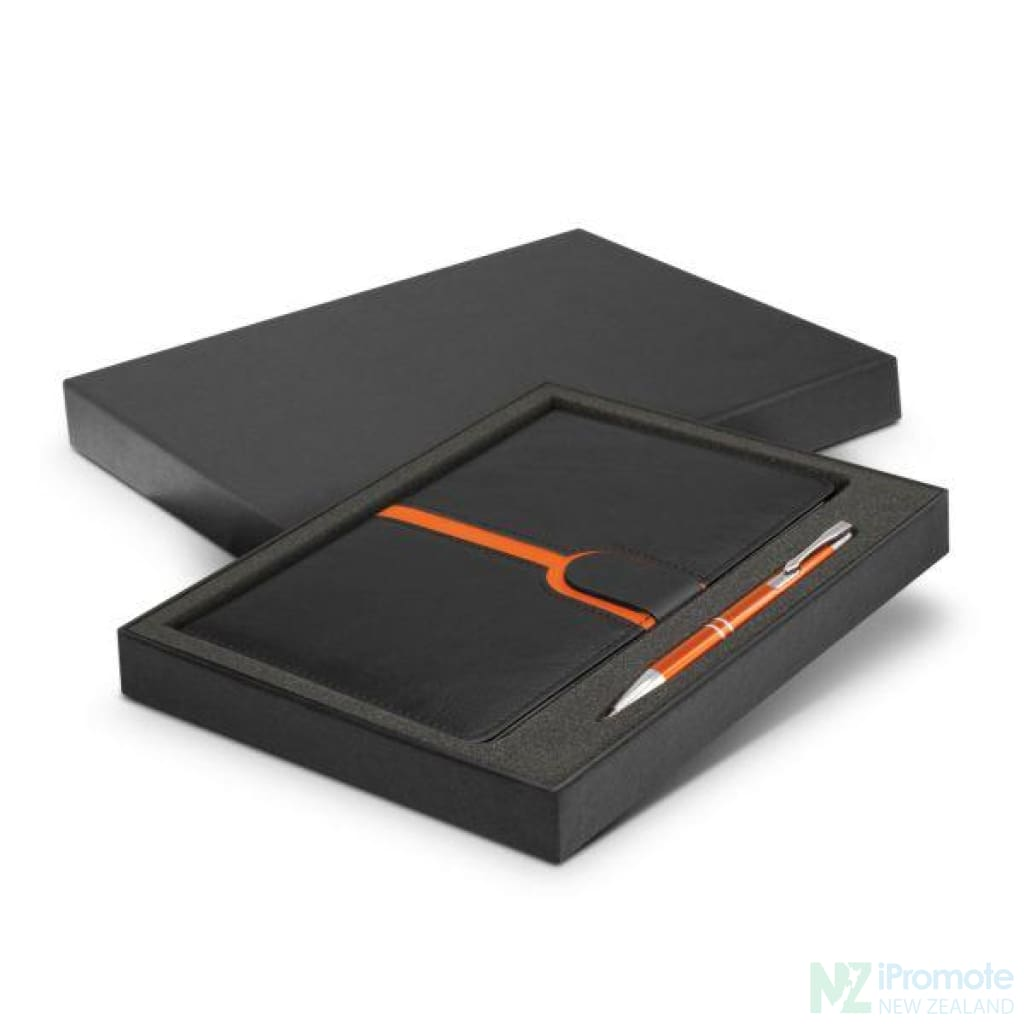 Andorra Notebook And Pen Gift Set Orange Notebooks