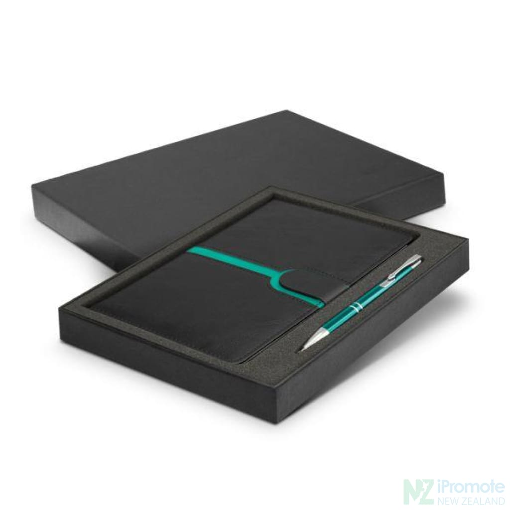 Andorra Notebook And Pen Gift Set Teal Notebooks