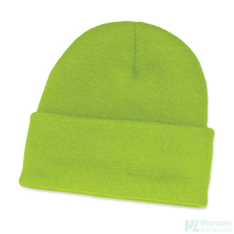 Classic Acrylic Roll Up Beanie Bright Green Beanies