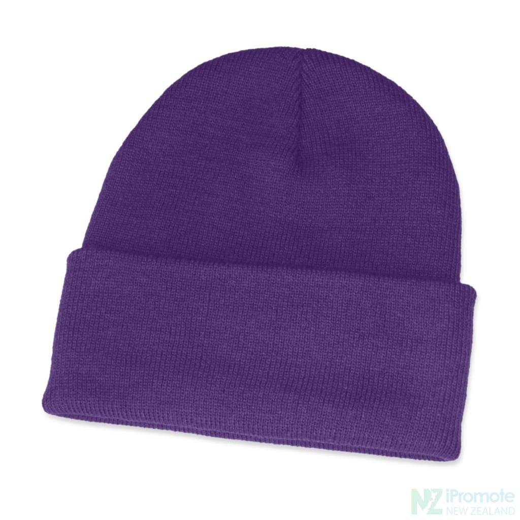 Classic Acrylic Roll Up Beanie Purple Beanies