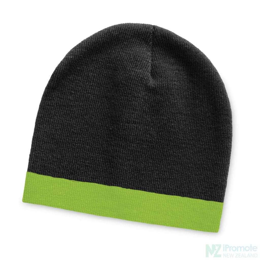 Commando Beanie With Colour Stripe Black/bright Green Beanies