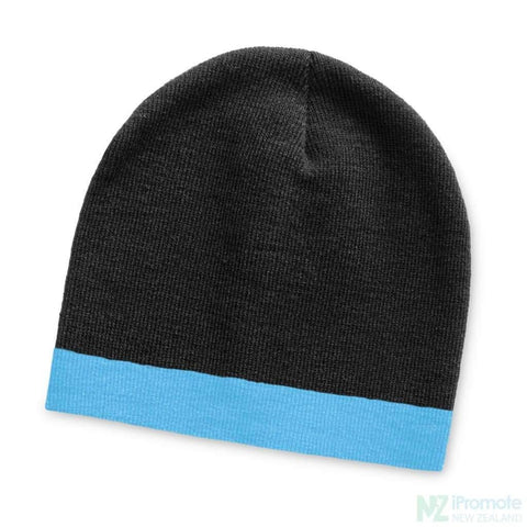 Commando Beanie With Colour Stripe Black/light Blue Beanies