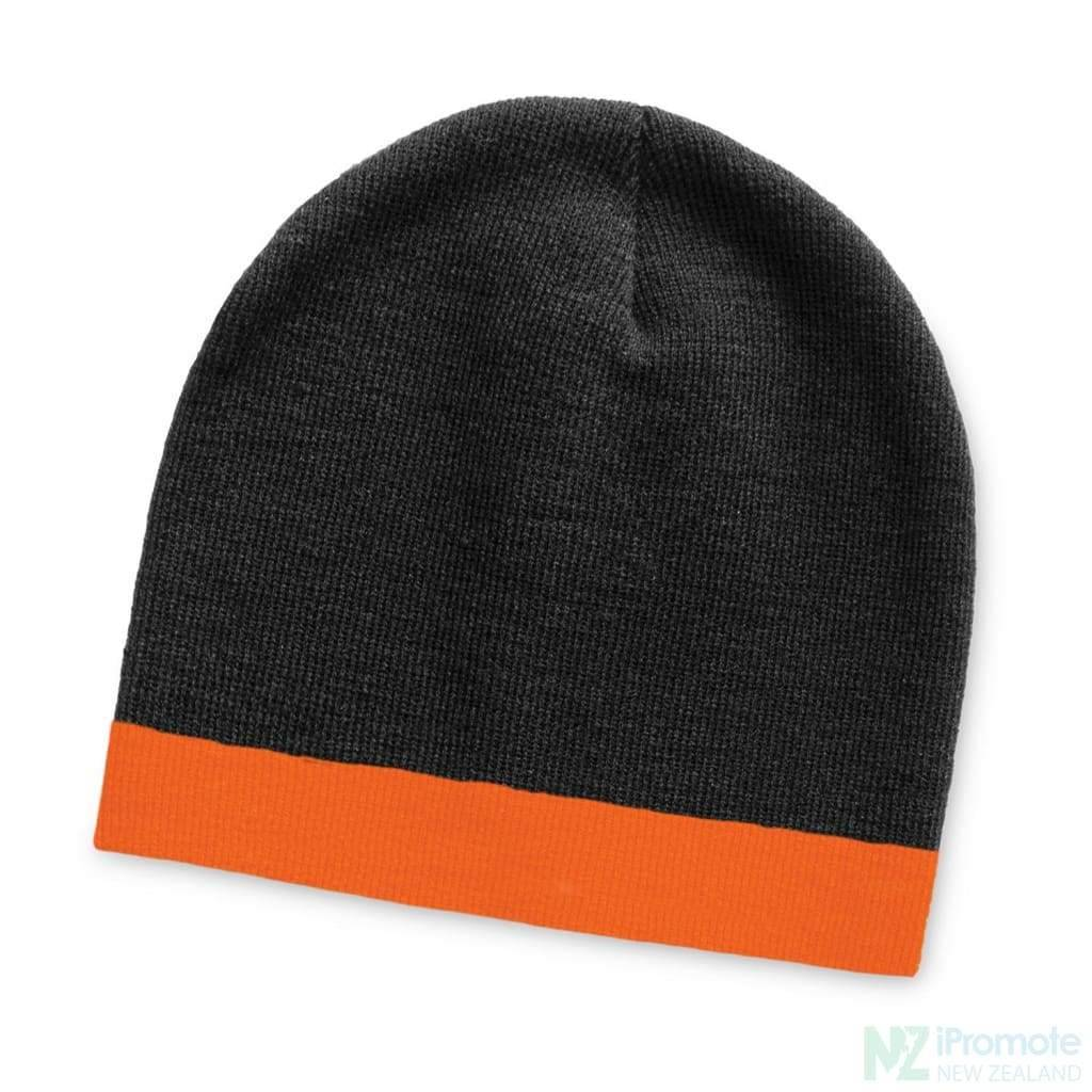 Commando Beanie With Colour Stripe Black/orange Beanies
