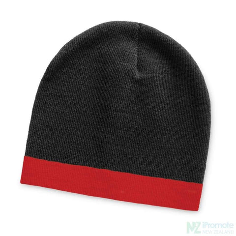 Commando Beanie With Colour Stripe Black/red Beanies