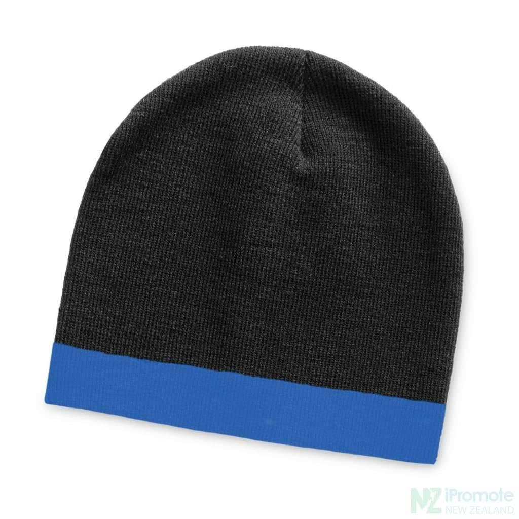Commando Beanie With Colour Stripe Black/royal Blue Beanies