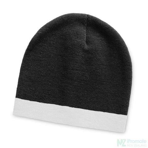Commando Beanie With Colour Stripe Black/white Beanies