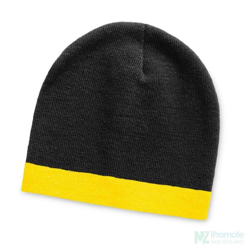 Commando Beanie With Colour Stripe Black/yellow Beanies