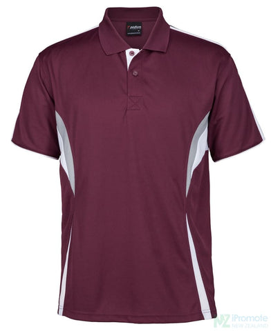 Image of Cool Polo Maroon/white/grey Shirts