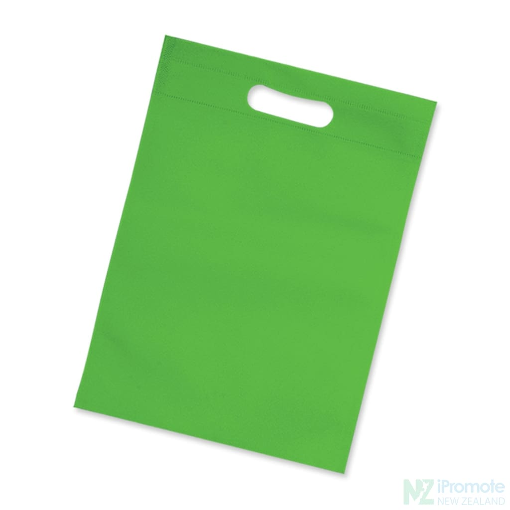 Die Cut Small Non Woven Bag Green Tote Bags