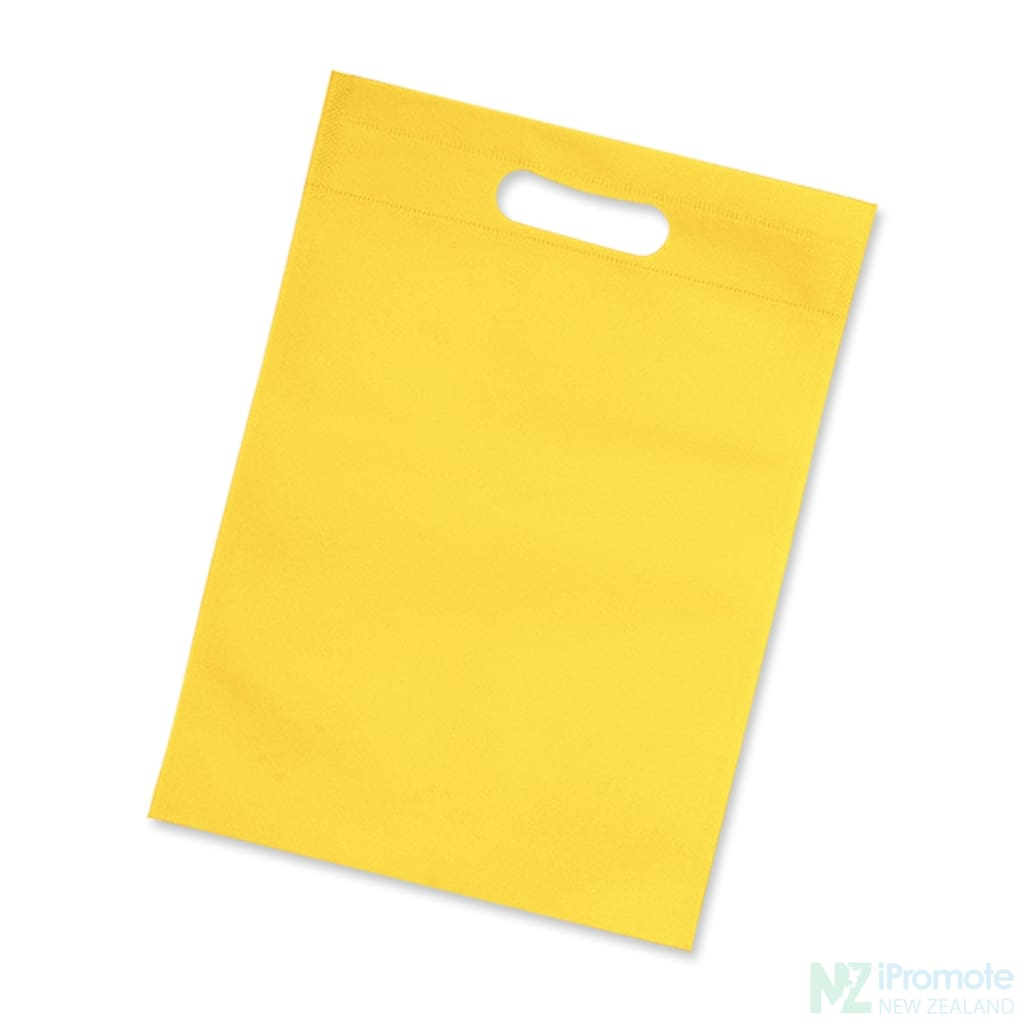 Die Cut Small Non Woven Bag Yellow Tote Bags