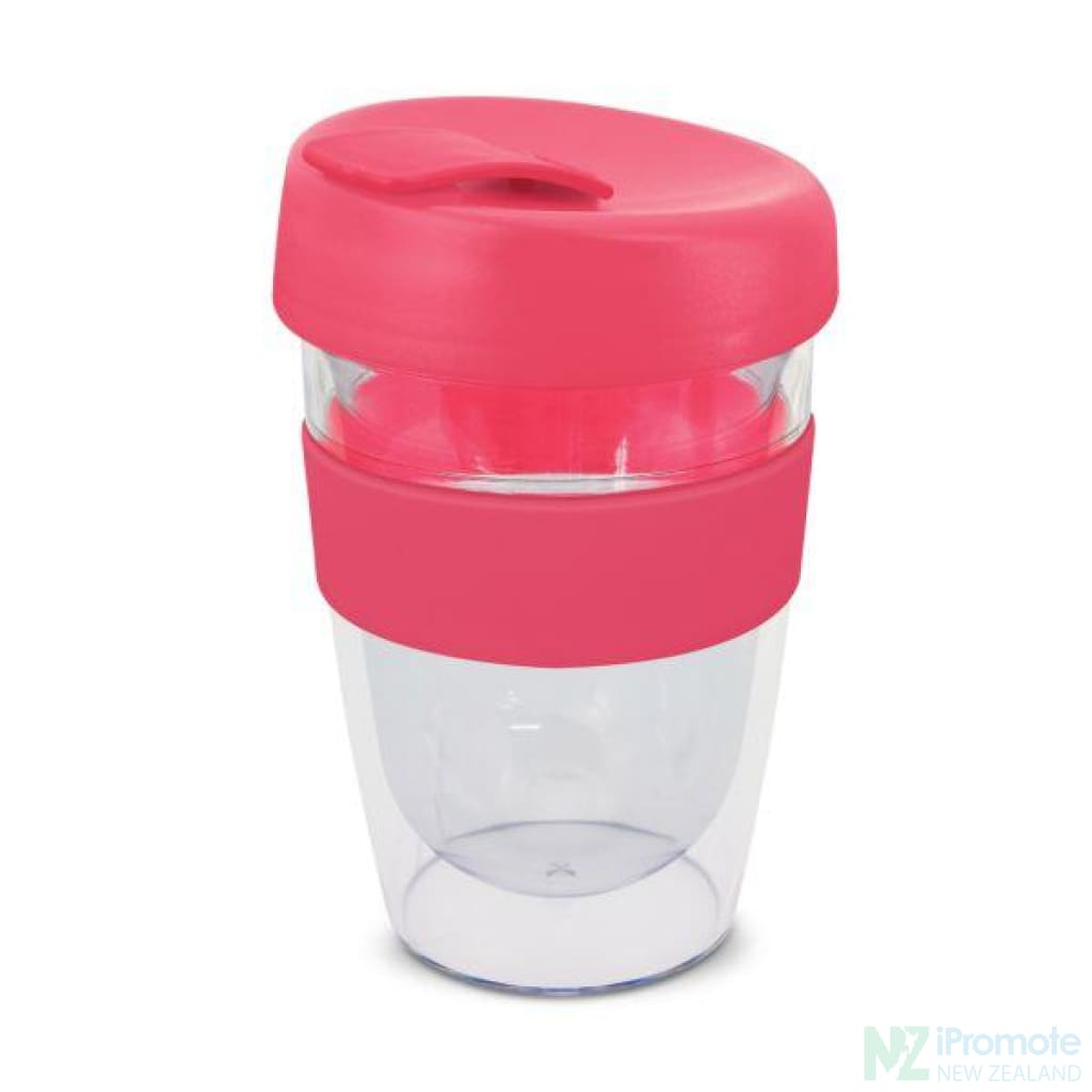 Double Walled 330Ml Express Cup Pink Reusable Mugs