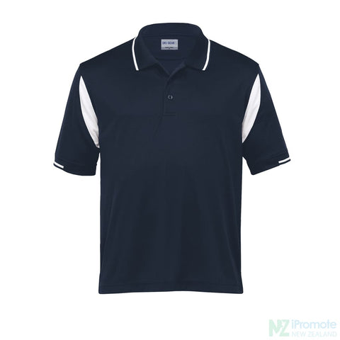 Dri Gear Insert Polo Navy/white Shirts