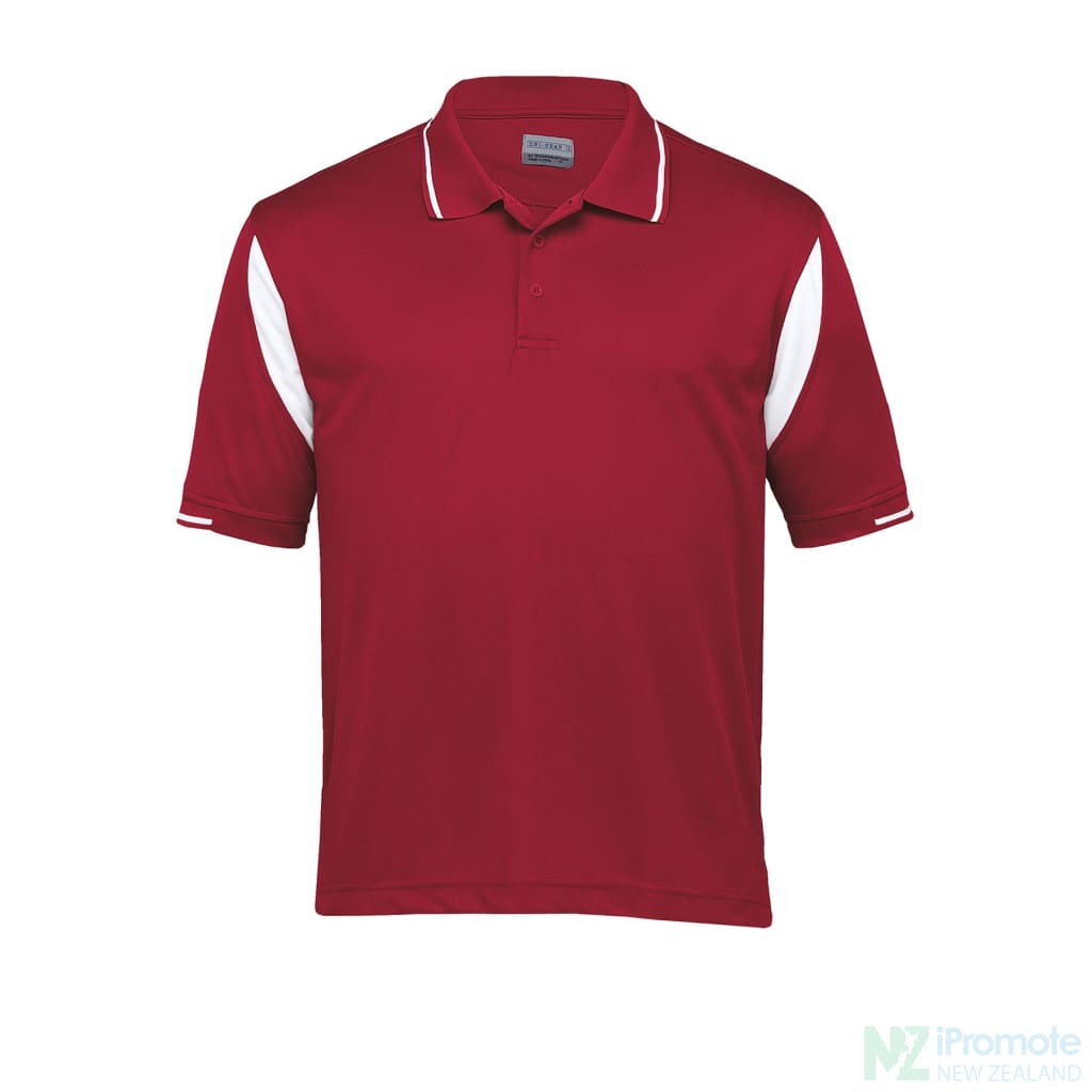Dri Gear Insert Polo Red/white Shirts