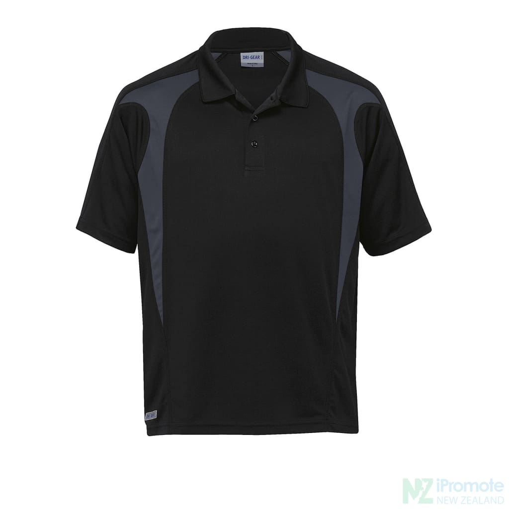 Dri Gear Spliced Zenith Polo Black/charcoal Shirts