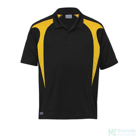 Image of Dri Gear Spliced Zenith Polo Black/gold Shirts