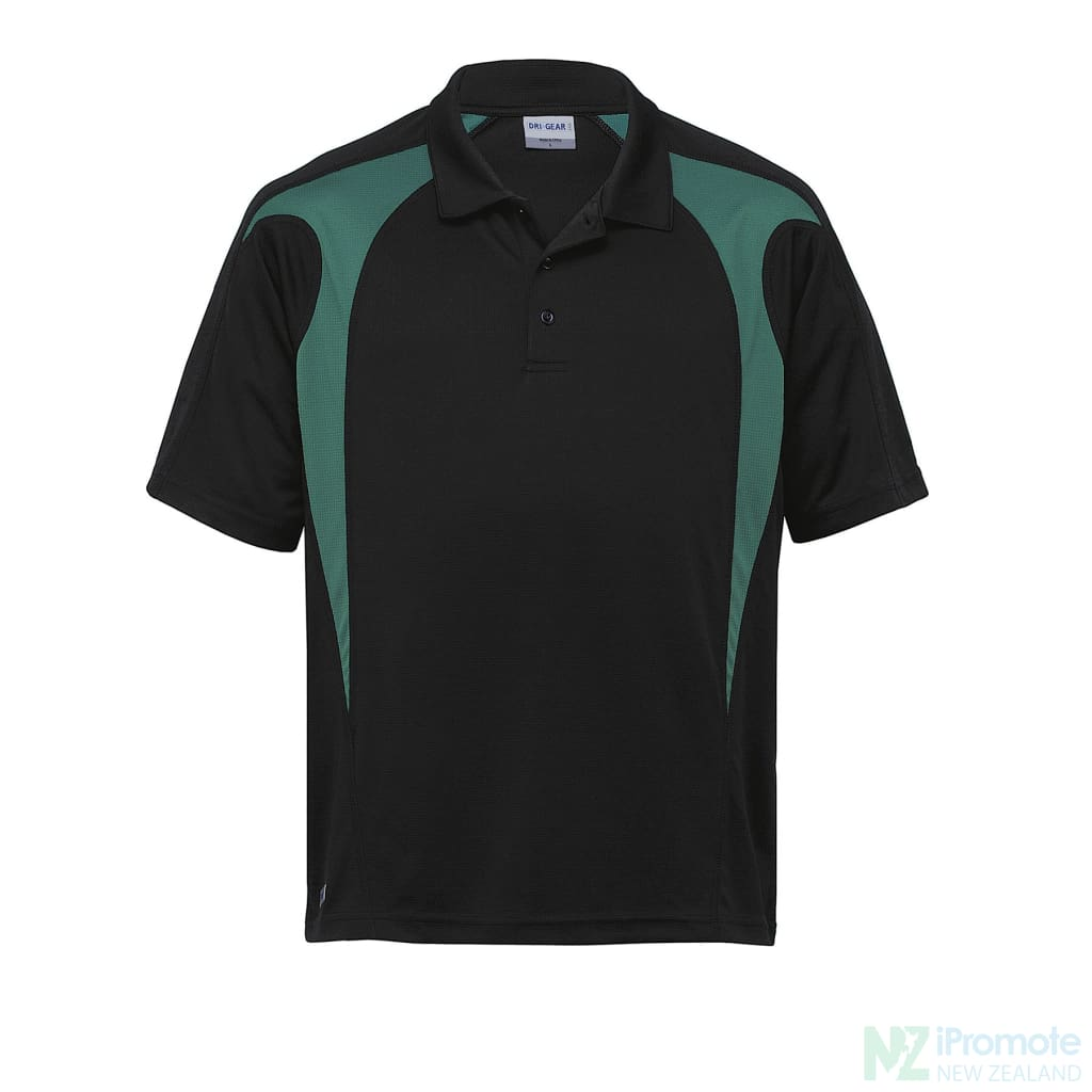 Dri Gear Spliced Zenith Polo Black/green Shirts