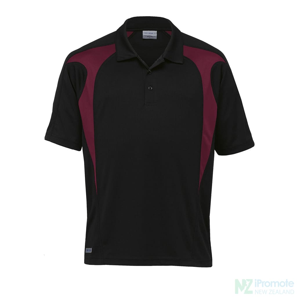 Dri Gear Spliced Zenith Polo Black/maroon Shirts
